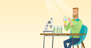 Caucasian student carrying out laboratory experiment. Student working with microscope at laboratory class. Student experimenting in laboratory. Vector flat design illustration. Horizontal layout.
