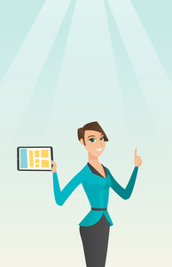 Caucasian student holding tablet computer and pointing forefinger up. Student using a tablet computer for education. Concept of educational technology. Vector flat design illustration. Vertical layout