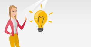 Caucasian student pointing her finger up at the idea bulb. Young excited female student with bright idea bulb. Smiling student having a great idea. Vector flat design illustration. Horizontal layout.
