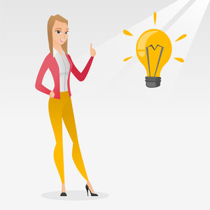 Caucasian student pointing her finger up at the idea bulb. Young excited female student with bright idea bulb. Smiling student having a great idea. Vector flat design illustration. Square layout.