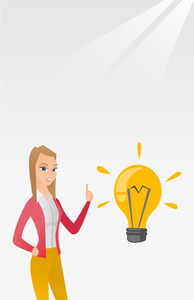 Caucasian student pointing her finger up at the idea bulb. Young excited female student with bright idea bulb. Smiling student having a great idea. Vector flat design illustration. Vertical layout.