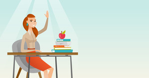 Caucasian student sitting at the desk with raised hand. Student raising hand in the classroom for an answer. Clever pupil raising her hand at lesson. Vector flat design illustration. Horizontal layout