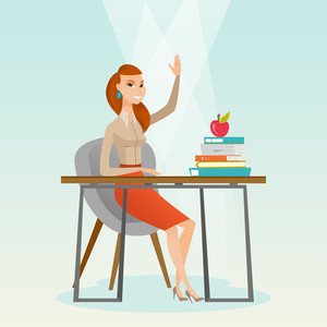 Caucasian student sitting at the desk with raised hand. Student raising hand in the classroom for an answer. Clever pupil raising her hand at lesson. Vector flat design illustration. Square layout.