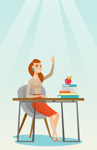 Caucasian student sitting at the desk with raised hand. Student raising hand in the classroom for an answer. Clever pupil raising her hand at lesson. Vector flat design illustration. Vertical layout.