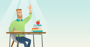Caucasian student sitting at the desk with raised hand. Student raising hand in the classroom for an answer. Clever student raising hand at lesson. Vector flat design illustration. Horizontal layout.