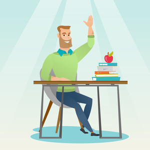 Caucasian student sitting at the desk with raised hand. Student raising hand in the classroom for an answer. Clever student raising his hand at lesson. Vector flat design illustration. Square layout.