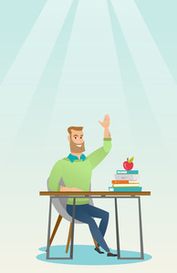 Caucasian student sitting at the desk with raised hand. Student raising hand in the classroom for an answer. Clever student raising his hand at lesson. Vector flat design illustration. Vertical layout