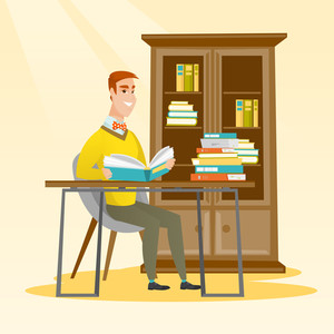 Caucasian student sitting at the table and holding a book in hands. Student reading a book in the library. Student reading a book and preparing for exam. Vector flat design illustration. Square layout