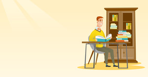 Caucasian student sitting at the table and holding a book in hands. Student reading book in the library. Student reading book and preparing for exam. Vector flat design illustration. Horizontal layout