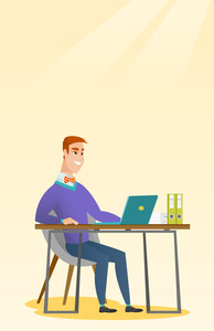 Caucasian student sitting at the table with laptop. Student using laptop for education. Business man working on laptop. Educational technology concept. Vector flat design illustration. Vertical layout