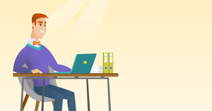 Caucasian student sitting at the table with laptop. Student using laptop for education. Student working on a laptop. Educational technology concept. Vector flat design illustration. Horizontal layout.