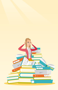 Caucasian student sitting in huge pile of books. Exhausted student preparing for exam with books. Stressed student reading books. Concept of education. Vector flat design illustration. Vertical layout