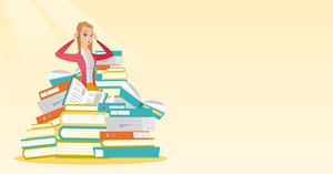 Caucasian student sitting in huge pile of books. Exhausted student preparing for exam with books. Stressed student reading books. Education concept. Vector flat design illustration. Horizontal layout.