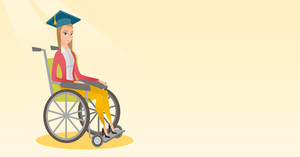 Caucasian student sitting in wheelchair. Cheerful graduate sitting in wheelchair. Happy disabled graduate in graduation cap sitting in wheelchair. Vector flat design illustration. Horizontal layout.