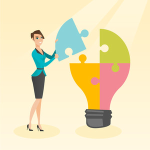 Caucasian student standing near idea bulb. Young excited female student takes apart idea light bulb made of puzzle. Smiling student having a great idea. Vector flat design illustration. Square layout.