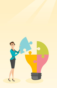 Caucasian student standing near idea bulb. Young excited female student takes apart idea light bulb made of puzzle. Smiling student having great idea. Vector flat design illustration. Vertical layout.