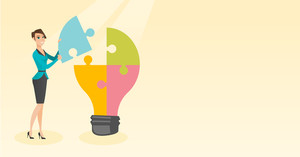 Caucasian student standing near idea bulb. Young female student takes apart idea light bulb made of puzzle. Smiling student having a great idea. Vector flat design illustration. Horizontal layout.
