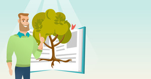Caucasian student standing on the background of tree growing from open book. Cheerful student pointing at tree of knowledge. Concept of education. Vector flat design illustration. Horizontal layout.