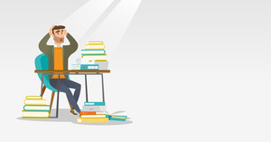 Caucasian student with beard studying hard before exam. Young stressed student studying with textbooks. Desperate student studying in the library. Vector flat design illustration Horizontal layout.