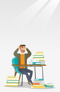 Caucasian student with beard studying hard before exam. Young stressed student studying with textbooks. Desperate student studying in the library. Vector flat design illustration. Vertical layout.