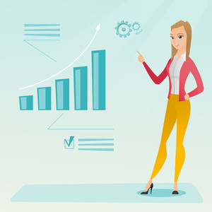 Caucasian successful business woman pointing at chart going up. Cheerful business woman satisfied by her business success. Business success concept. Vector flat design illustration. Square layout.