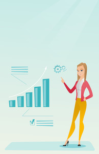 Caucasian successful business woman pointing at chart going up. Cheerful business woman satisfied by her business success. Business success concept. Vector flat design illustration. Vertical layout.