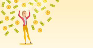 Caucasian successful business woman with closed eyes standing with raised hands under money rain. Excited business woman enjoying a rain of money. Vector flat design illustration. Horizontal layout.