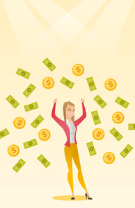 Caucasian successful business woman with closed eyes standing with raised hands under money rain. Excited business woman enjoying a rain of money. Vector flat design illustration. Vertical layout.