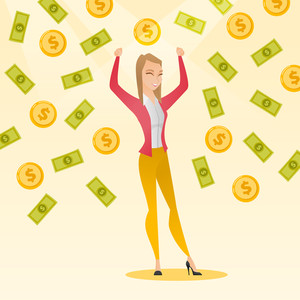Caucasian successful business woman with closed eyes standing with raised hands under money rain. Young excited business woman enjoying a rain of money. Vector flat design illustration. Square layout.