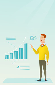 Caucasian successful businessman pointing at chart going up. Cheerful smiling businessman satisfied by his business success. Business success concept. Vector flat design illustration. Vertical layout.