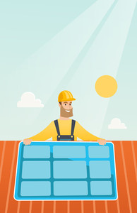 Caucasian technician installing solar panels on roof. Technician in inuform and helmet checking solar panel on roof. Technician adjusting solar panel. Vector flat design illustration. Vertical layout.
