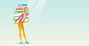 Caucasian tired student carrying a heavy pile of books on her back. Student walking with huge stack of books. Student preparing for exam with books. Vector flat design illustration. Horizontal layout.