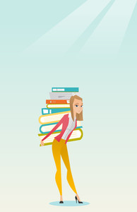 Caucasian tired student carrying a heavy pile of books on her back. Student walking with huge stack of books. Student preparing for exam with books. Vector flat design illustration. Vertical layout.