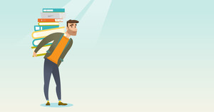 Caucasian tired student carrying a heavy pile of books on his back. Student walking with huge stack of books. Student preparing for exam with books. Vector flat design illustration. Horizontal layout.