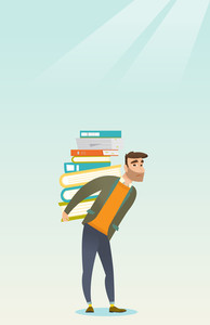 Caucasian tired student carrying heavy pile of books on his back. Sad student walking with huge stack of books. Student preparing for exam with books. Vector flat design illustration. Vertical layout.