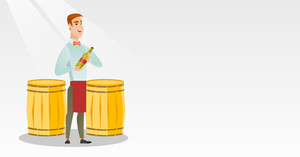 Caucasian waiter holding a bottle of wine. Young waiter with a bottle standing on the background of wine barrels. Waiter presenting a wine bottle. Vector flat design illustration. Horizontal layout.