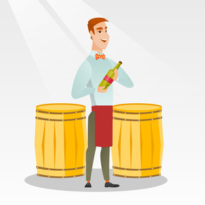 Caucasian waiter holding a bottle of wine. Young waiter with a bottle standing on the background of wine barrels. Waiter presenting a wine bottle. Vector flat design illustration. Square layout.