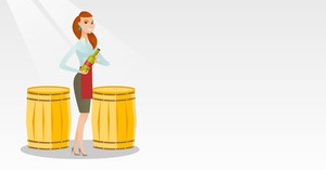 Caucasian waitress holding a bottle of wine. Waitress with a bottle standing on the background of wine barrels. Waitress presenting a wine bottle. Vector flat design illustration. Horizontal layout.