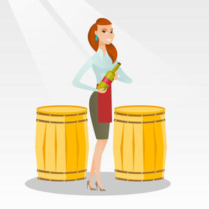 Caucasian waitress holding a bottle of wine. Young waitress with a bottle standing on the background of wine barrels. Waitress presenting a wine bottle. Vector flat design illustration. Square layout.