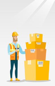 Caucasian warehouse worker scanning barcode on box. Warehouse worker checking barcode of box with a scanner. Warehouse worker in hard hat with scanner. Vector flat design illustration. Vertical layout