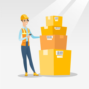 Caucasian warehouse worker scanning barcode on box. Warehouse worker checking barcode of box with a scanner. Young warehouse worker holding a scanner. Vector flat design illustration. Square layout.