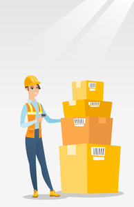 Caucasian warehouse worker scanning barcode on box. Warehouse worker checking barcode of box with a scanner. Young warehouse worker holding a scanner. Vector flat design illustration. Vertical layout.