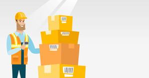 Caucasian warehouse worker scanning barcode on box. Warehouse worker checking barcode of box with scanner. Warehouse worker in hard hat with scanner. Vector flat design illustration. Horizontal layout