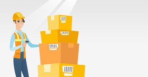 Caucasian warehouse worker scanning barcode on box. Warehouse worker checking barcode of box with scanner. Young warehouse worker holding a scanner. Vector flat design illustration. Horizontal layout.