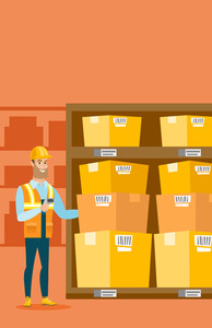 Caucasian warehouse worker working with a scanner. Warehouse worker scanning barcode on box. Warehouse worker checking barcode of boxes with a scanner. Vector flat design illustration. Vertical layout
