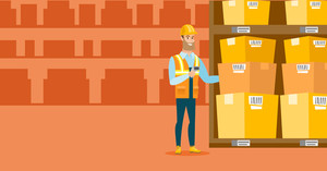 Caucasian warehouse worker working with scanner. Warehouse worker scanning barcode on box. Warehouse worker checking barcode of boxes with a scanner. Vector flat design illustration. Horizontal layout
