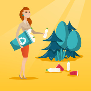 Caucasian woman collecting garbage in recycle bin. Joyful woman with recycling bin in hand picking up used plastic bottles. Waste recycling concept. Vector flat design illustration. Square layout.
