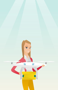 Caucasian woman controlling delivery drone with post package. Woman getting post package from delivery drone. Woman sending parcel with delivery drone. Vector flat design illustration. Vertical layout