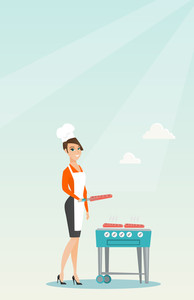 Caucasian woman cooking steak on the gas barbecue grill outdoors. Young woman preparing steak on the gas barbecue grill. Woman at a barbecue party. Vector flat design illustration. Vertical layout.