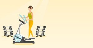 Caucasian woman exercising on elliptical trainer. Woman working out using elliptical trainer in the gym. Woman doing exercises on elliptical trainer. Vector flat design illustration. Horizontal layout